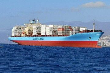 """El buque danés """"Lexa Maersk"""", fondeado al resguardo de Anaga"""
