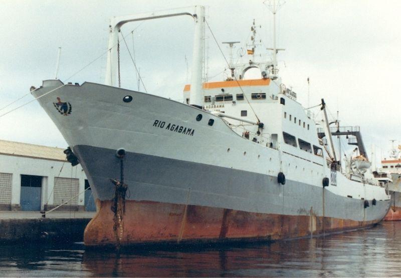 """El buque factoría """"Río Agabama"""", en una de sus escalas en Las Palmas"""