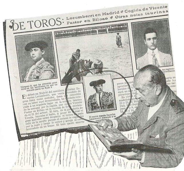 El capitán Zacarías Lecumberri, en una composición con noticias suyas de toreo