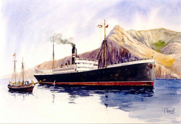 """El vapor """"Valbanera"""", en aguas del puerto de Santa Cruz de La Palma"""