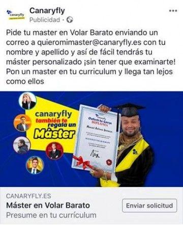 Este es el anuncio publicitario de Canaryfly