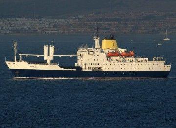 """El buque """"St. Helena"""", fondeado en Gibraltar"""