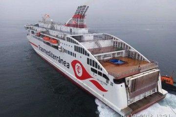 """El ferry """"Villa de Teror"""", esta mañana, en aguas de la ría de Vigo"""