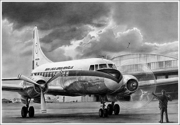 """Dibujo del avión Convair CV 440 """"Metropolitan"""" de Iberia"""