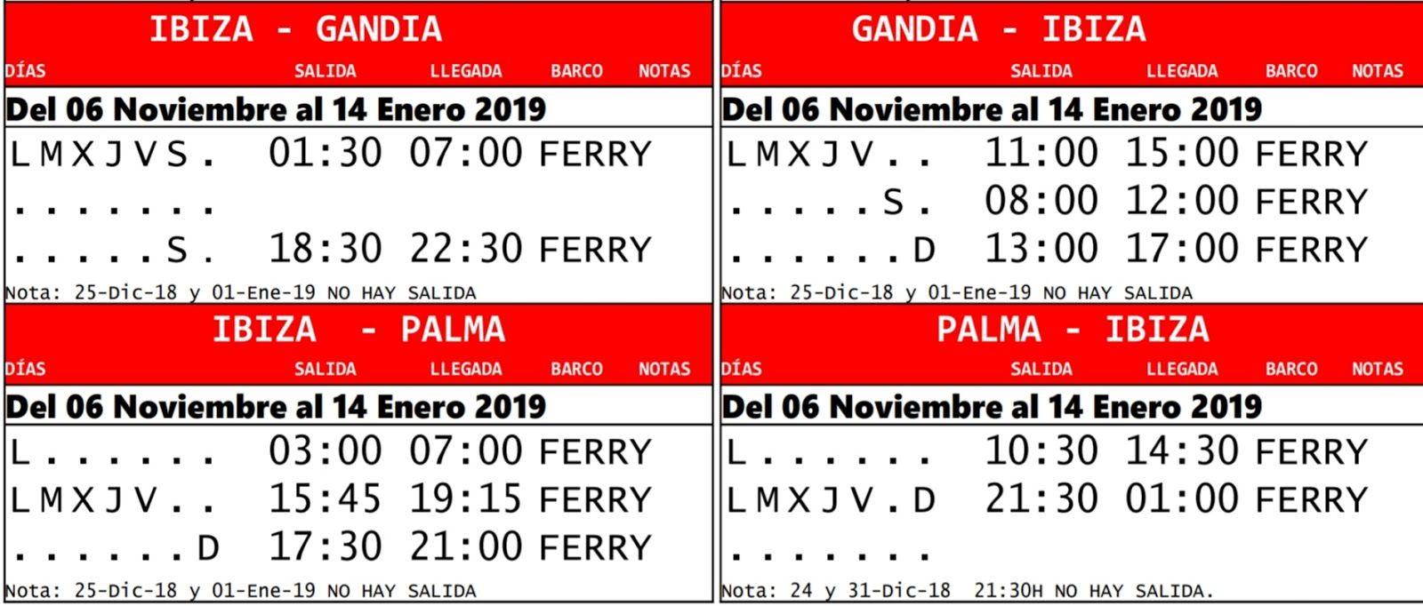 Tabla de horarios por tramos de la línea Gandía-Ibiza-Palma