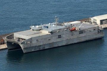 """El catamarán militar USNS """"Carson City"""", en Gibraltar"""
