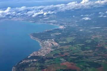 Así se ve la costa sur de Mallorca en la aproximación al aeropuerto de Palma
