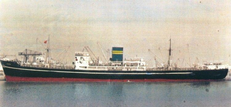 """El buque """"Romeo"""" (1963-1967), visto en toda su eslora por la banda de babor"""