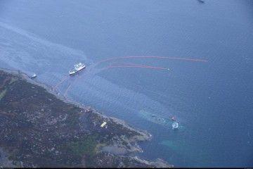 La fragata noruega está hundida casi en su totalidad próxima a la orilla