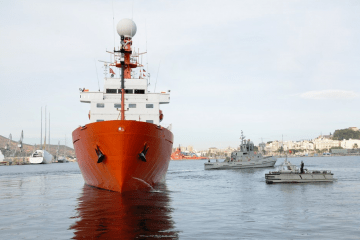"""El BIO """"Hespérides"""", ayer, a su salida del arsenal militar de Cartagena"""