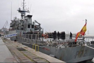 "El patrullero de altura ""Centinela"", a su llegada al arsenal militar de Ferrol"