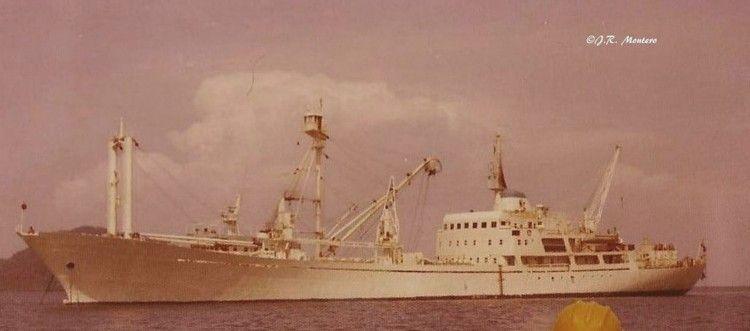 """Estampa marinera del buque """"Playa Blanca"""", fondeado en aguas de Panamá"""