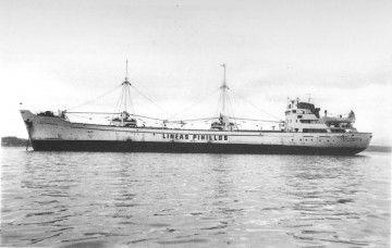 """El buque """"Lago Sanabria"""", en la que etapa en la que estuvo al servicio de Naviera Pinillos"""