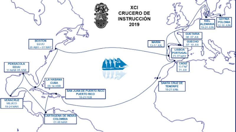 """Itinerario del 91 crucero de instrucción del buque-escuela """"Juan Sebastián de Elcano"""""""