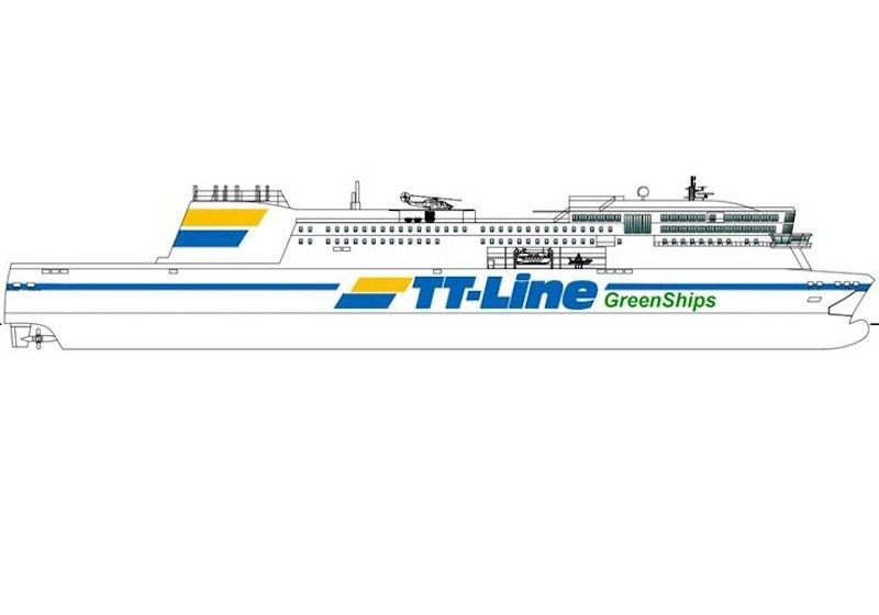 Esta imagen aproxima al aspecto exterior del buque buque de TT-Line
