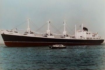 """Estampa marinera del buque """"Coromoto"""", de la flota de Compañía Trasatlántica"""