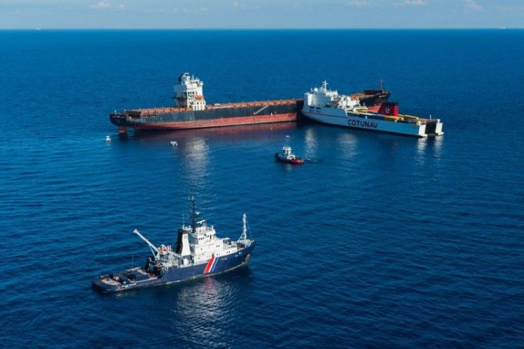 """Estado en el que quedó el ferry """"Ulysse"""" tras abordar al portacontenedores """"CLS Virginia"""""""