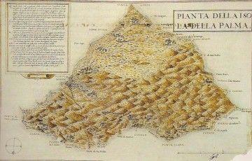 Mapa de la isla de La Palma, de Leonardo Torriani, a finales del siglo XVI