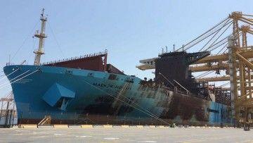 """Estado en el que quedó el buque """"Maersk Honam"""", tras el incendio"""
