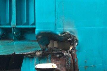 """Este es el resultado del golpe del buque """"Abel Matutes"""" contra el pantalán del puerto de Ibiza"""