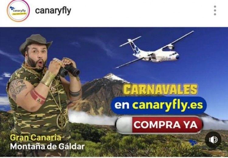 Uno de los anuncios de Canaryfly invitando al carnaval de Las Palmas