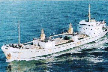 """El buque """"Sierra Luna"""", navegando por el canal de la Mancha"""