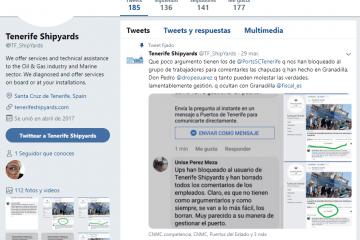 La entrada más reciente en el twitter de Tenerife Shipyards
