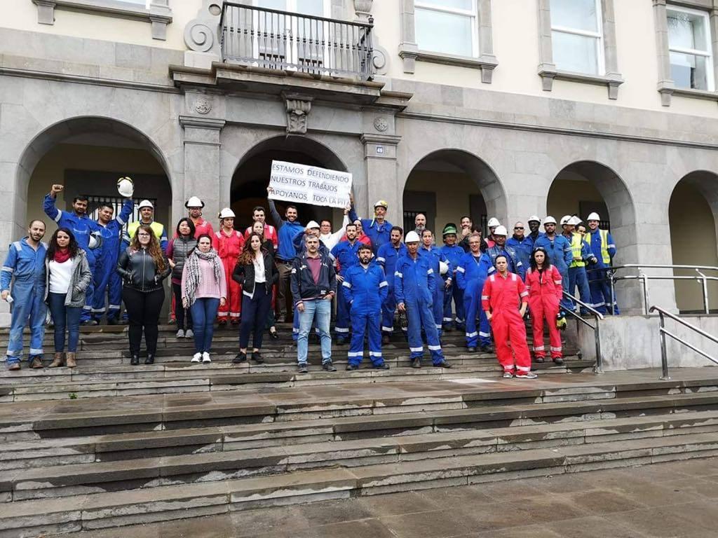 Los trabajadores de Tenerife Shipyards se han manifestado en defensa de sus puestos de trabajo