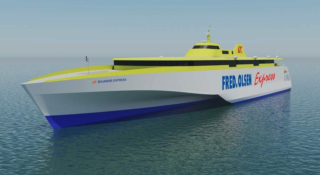 """El primero de los dos nuevos trimaranes de Fred. Olsen se llamará """"Bajamar Express"""""""
