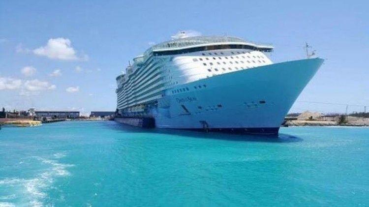 """Así se encuentra el buque """"Oasis of the Seas"""" en el dique flotante"""