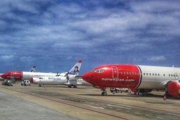 Los tres aviones B-737 Max8 de Norwegian, en la plataforma del aeropuerto de Gran Canaria