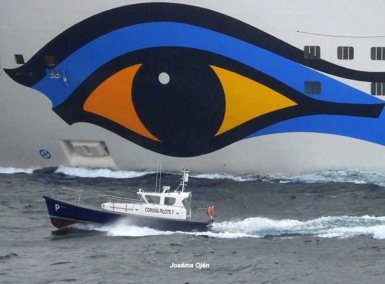 El ojo característico de la decoración exterior de Aida Cruises