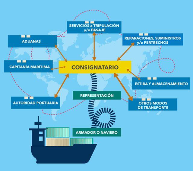 Esquema de la interelación del consignatario de buques