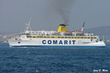 """El ferry marroquí """"Banasa"""" zarpa del puerto de Algeciras"""