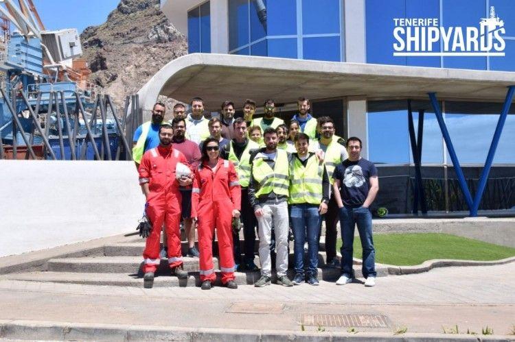 Grupo de alumnos de la Escuela Politécnica Superior de Ingeniería de la Universidad de la Laguna, en su visita a Tenerife Shipyards