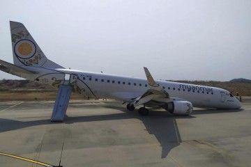 Estado en el que quedó el avión tras el aterrizaje de emergencia