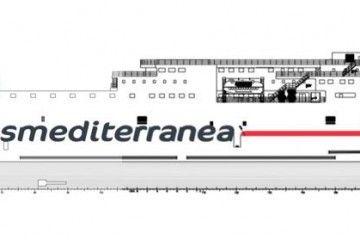 Alzado por estribor del nuevo buque del Grupo Armas-Trasmediterránea