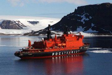 """Estampa marinera del buque rompehielos nuclear ruso """"50 Let Pobedy"""""""