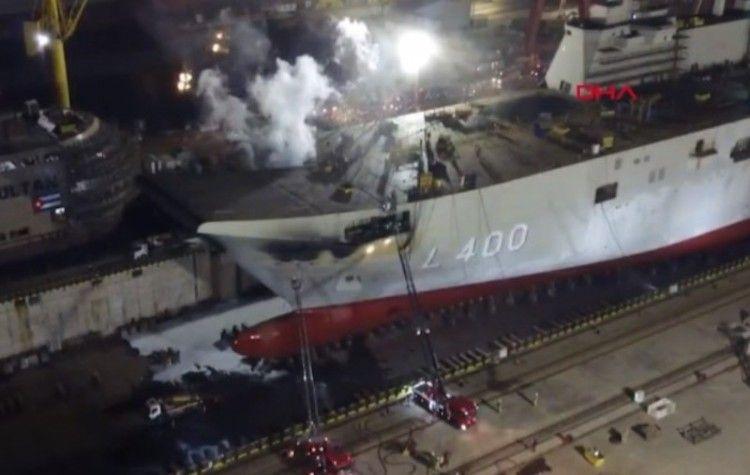 El incendio se produjo en la zona de proa del buque en construcción