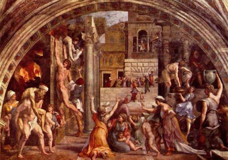 """Giulio Romano. """"El incendio del Borgo"""". Fresco en las estancias de Rafael (Vaticano)"""