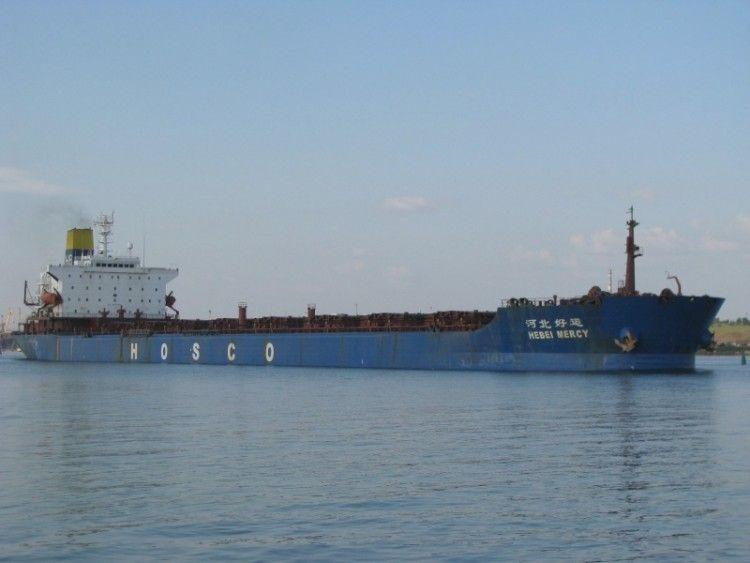 """Estampa marinera del buque """"Hebei Mercy"""", ex """"Mercedes"""""""