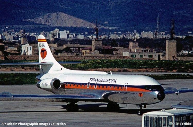 """Caravelle EC-BRJ """"Renacuajo III"""" de Transeuropa en el aeropuerto de Son San Joan (Mallorca)"""