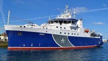 """El buque oceanográfico sueco """"Svea"""", visto por la amura de babor"""