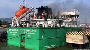 """El petrolero ruso """"VF Tanker 16"""", tras la explosión"""
