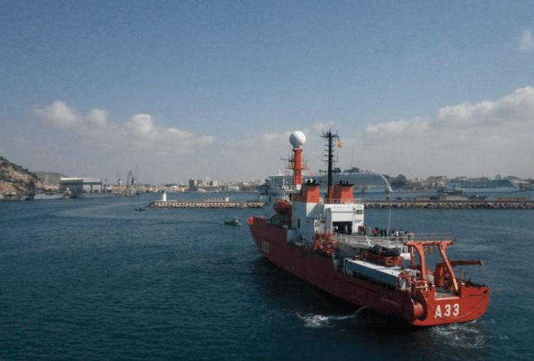 """El BIO """"Hespérides"""", a su llegada a la base de Cartagena"""