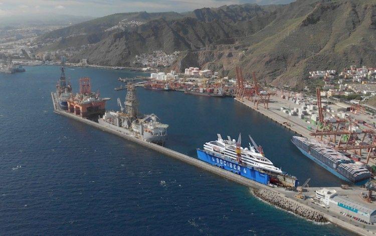 Simulación de la ubicación del dique flotante de Tenerife Shipyards