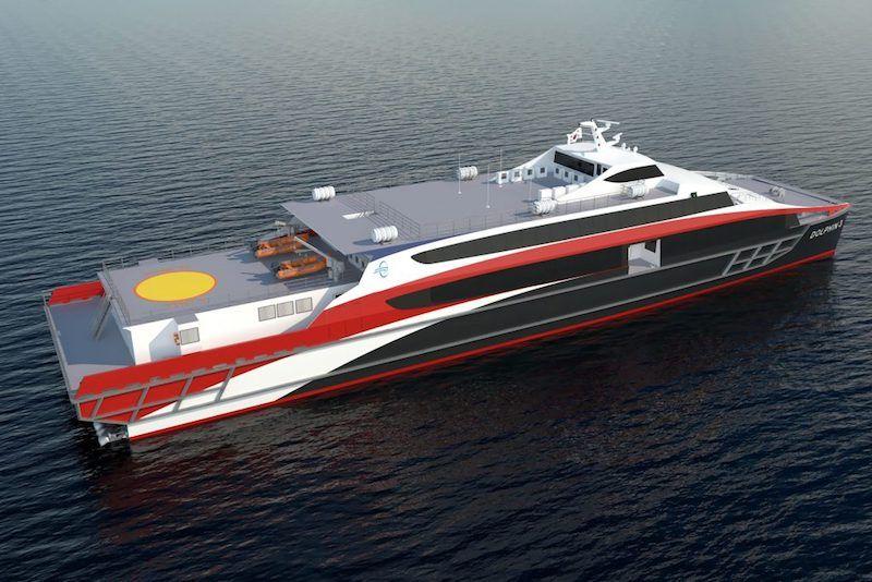 Este es el aspecto exterior del catamarán Inca Crowther 65
