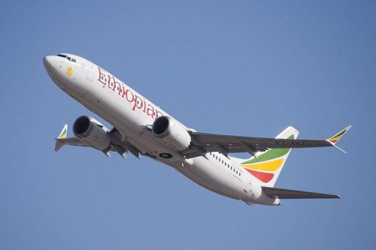 Imagen del avión B-737 Max de Ethiophan Airlines accidentado