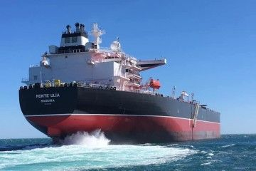 """El petrolero """"Monte Ulía"""", en sus pruebas de mar"""