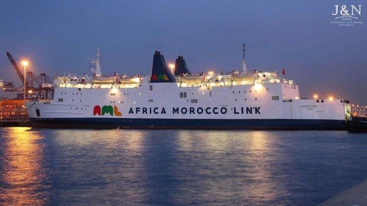 """El ferry marroquí """"Morocco Sun"""", atracado en el puerto de Algeciras"""